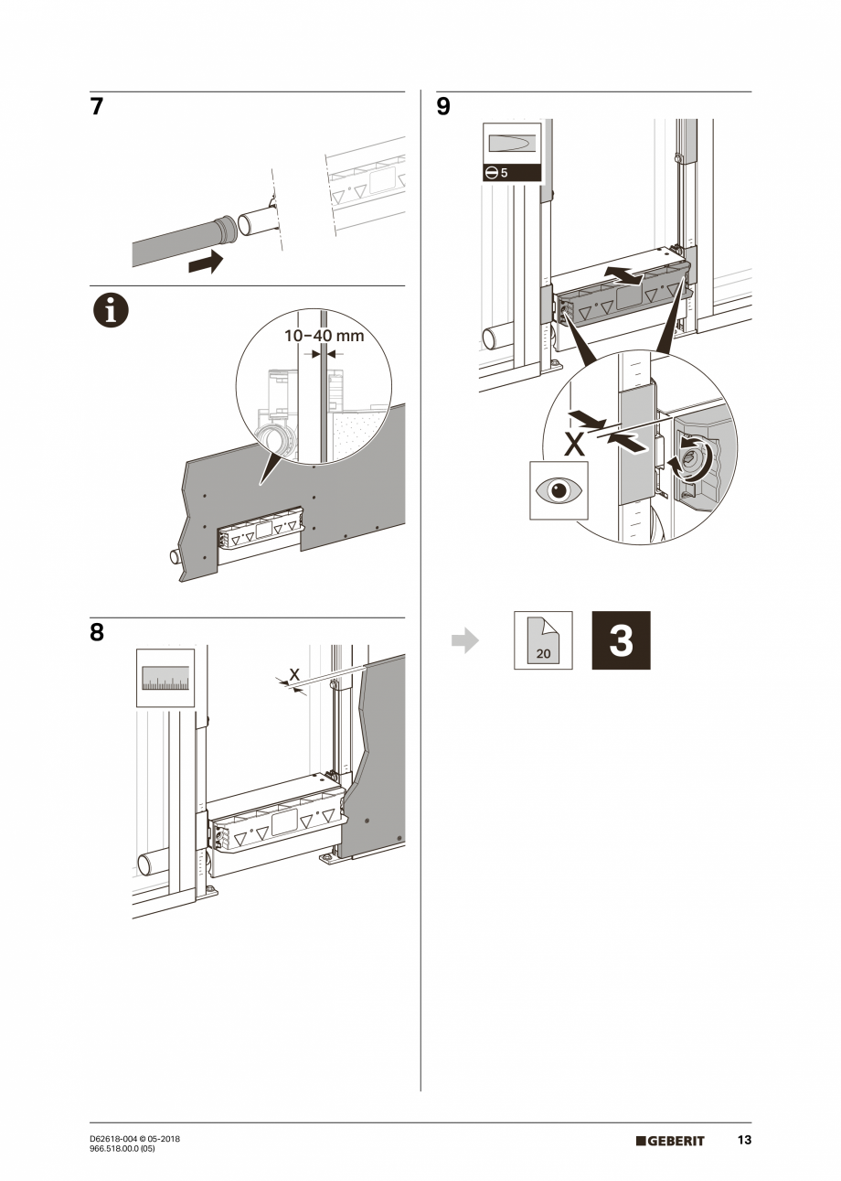 Pagina 13 - Manual de instalare - pentru element de instalare Geberit Duofix pentru dus, 130 cm...