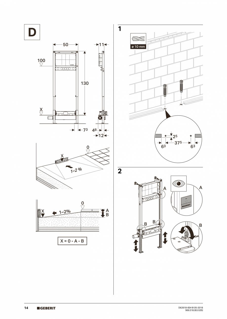 Pagina 14 - Manual de instalare - pentru element de instalare Geberit Duofix pentru dus, 130 cm...
