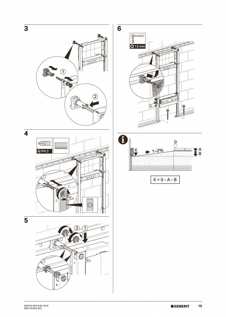 Pagina 15 - Manual de instalare - pentru element de instalare Geberit Duofix pentru dus, 130 cm...