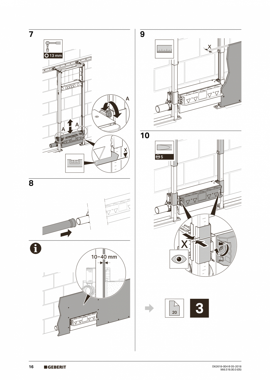 Pagina 16 - Manual de instalare - pentru element de instalare Geberit Duofix pentru dus, 130 cm...
