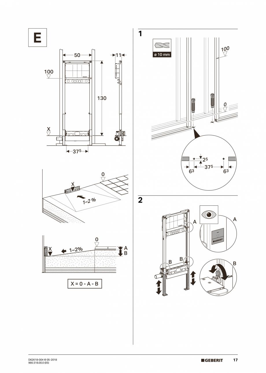 Pagina 17 - Manual de instalare - pentru element de instalare Geberit Duofix pentru dus, 130 cm...