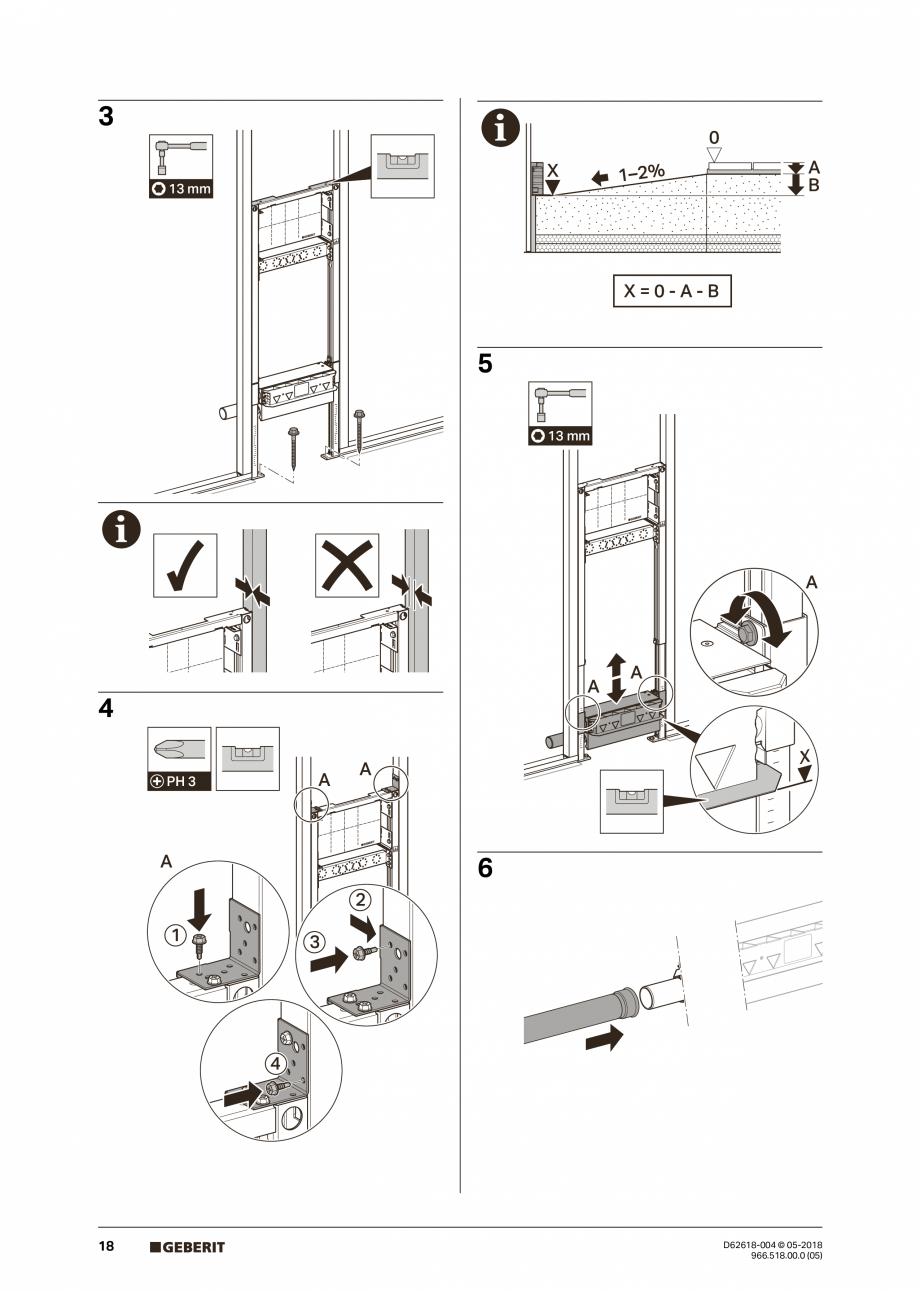 Pagina 18 - Manual de instalare - pentru element de instalare Geberit Duofix pentru dus, 130 cm...