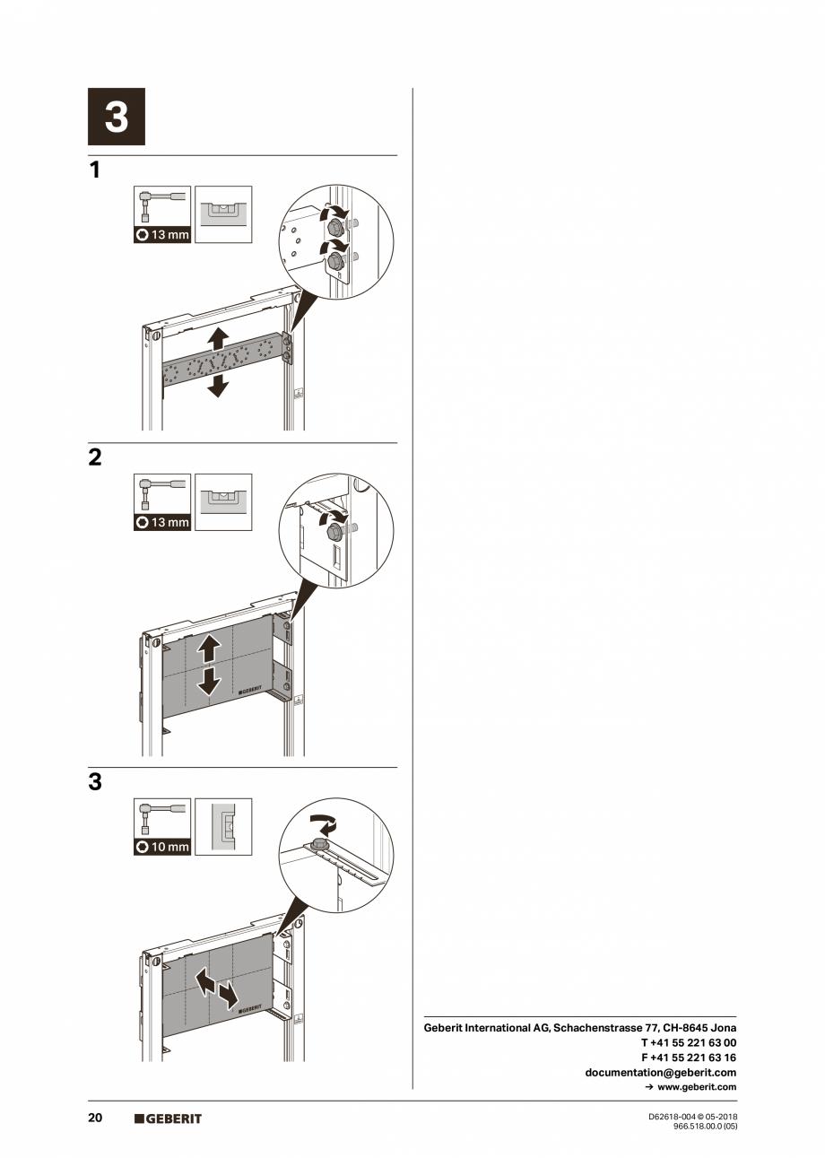 Pagina 20 - Manual de instalare - pentru element de instalare Geberit Duofix pentru dus, 130 cm...