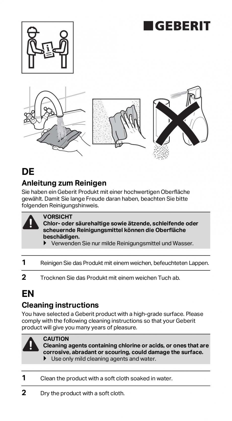 Pagina 1 - Instructiuni de instalare pentru rigola GEBERIT CleanLine Instructiuni montaj, utilizare ...