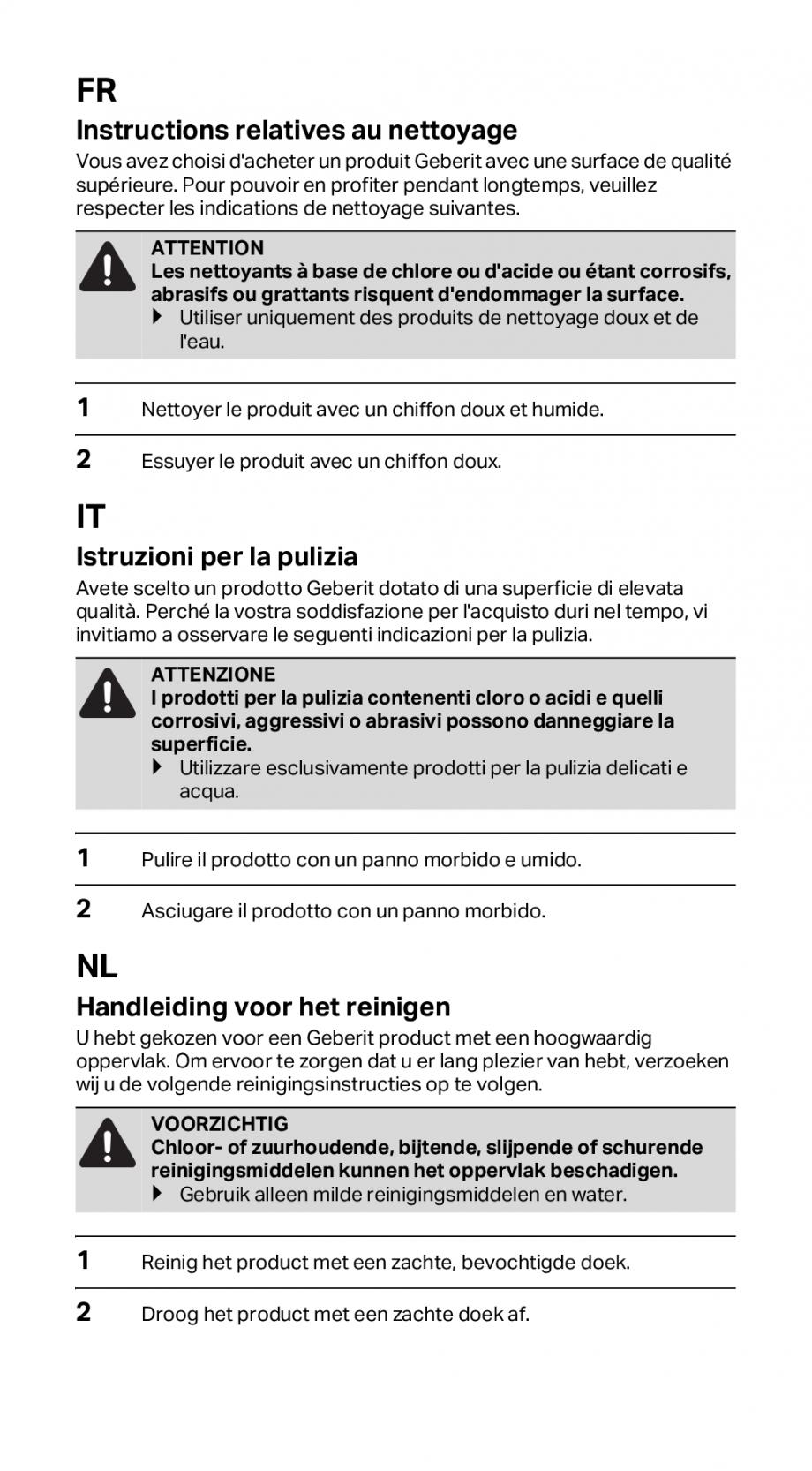 Pagina 2 - Instructiuni de instalare pentru rigola GEBERIT CleanLine Instructiuni montaj, utilizare ...