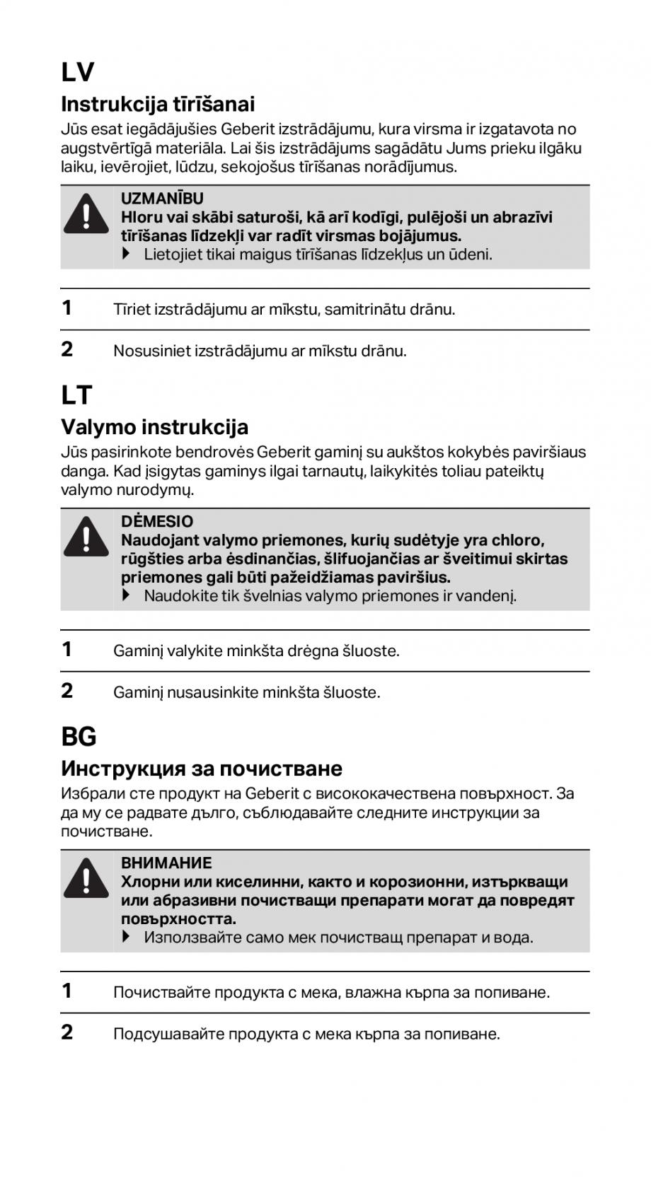 Pagina 8 - Instructiuni de instalare pentru rigola GEBERIT CleanLine Instructiuni montaj, utilizare ...