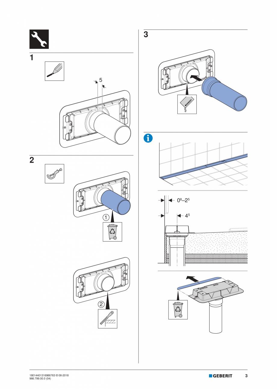 Pagina 3 - Manual pentru instalre - Kit de instalare Geberit pentru rigole pentru dus din seria...