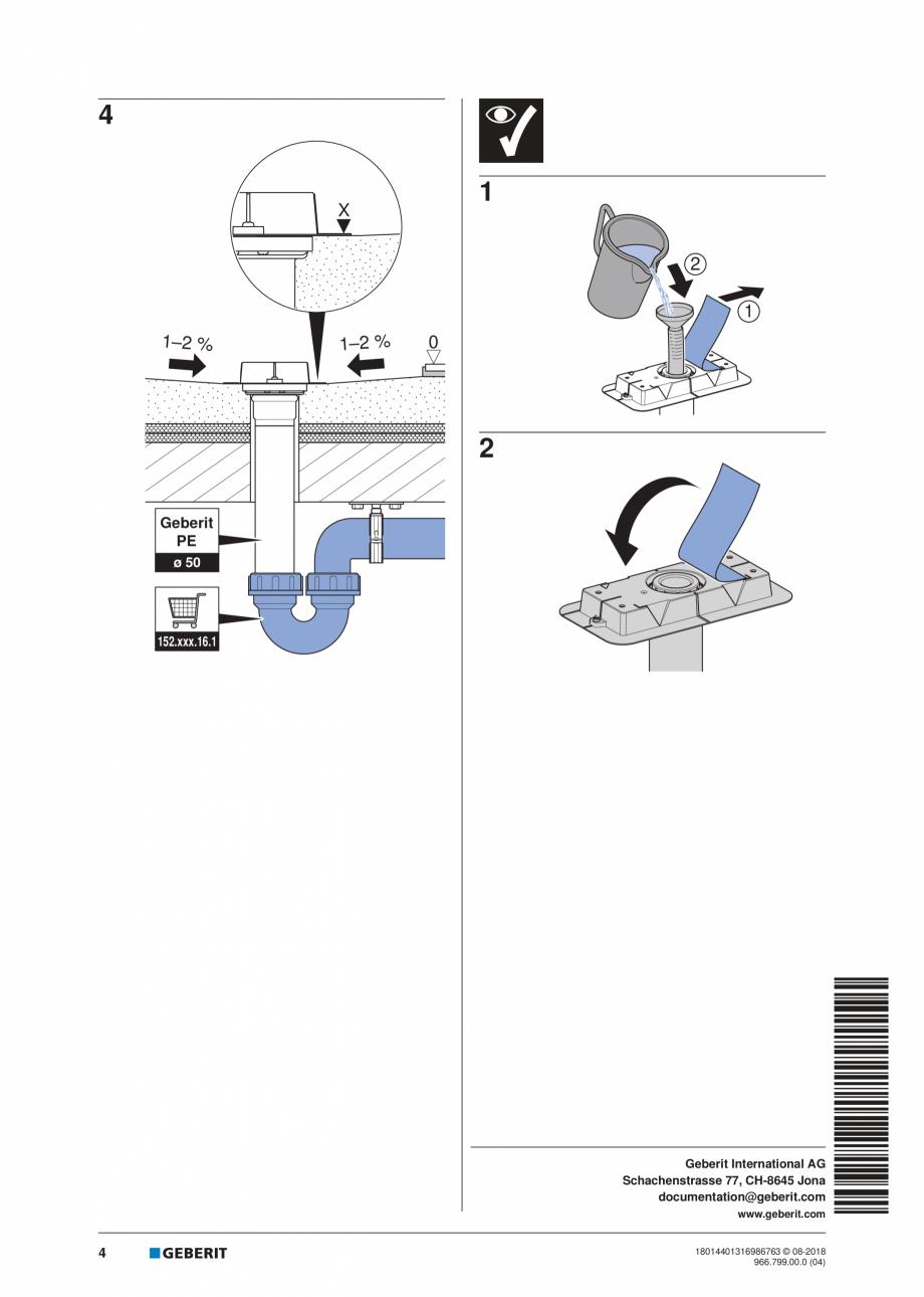 Pagina 4 - Manual pentru instalre - Kit de instalare Geberit pentru rigole pentru dus din seria...