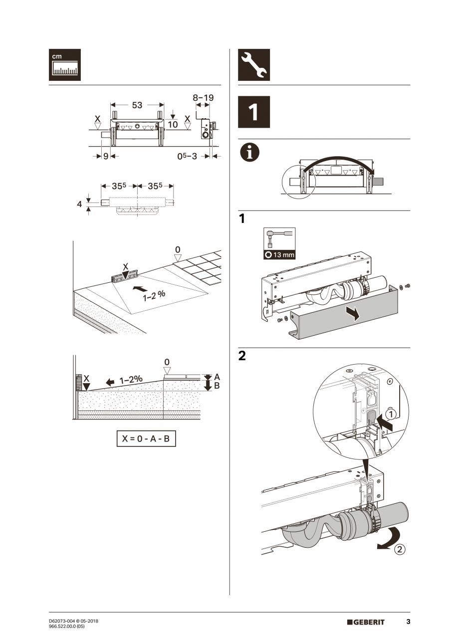 Pagina 3 - Manual de instalare pentru element de instalare Geberit Kombifix pentru dus, cu scurgere ...