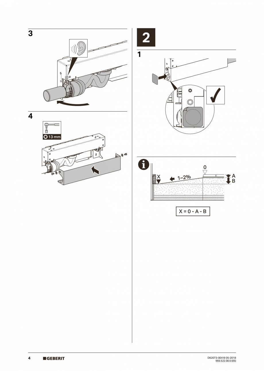 Pagina 4 - Manual de instalare pentru element de instalare Geberit Kombifix pentru dus, cu scurgere ...