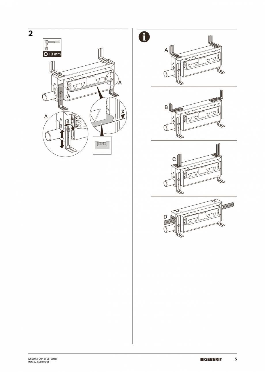 Pagina 5 - Manual de instalare pentru element de instalare Geberit Kombifix pentru dus, cu scurgere ...