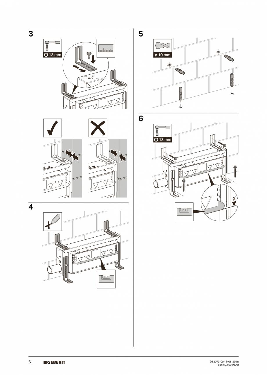 Pagina 6 - Manual de instalare pentru element de instalare Geberit Kombifix pentru dus, cu scurgere ...
