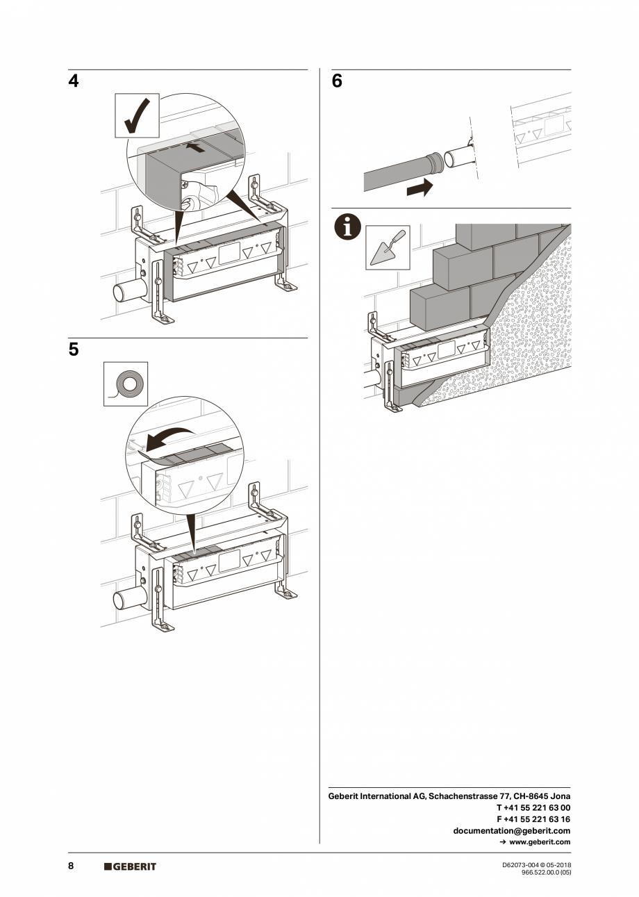 Pagina 8 - Manual de instalare pentru element de instalare Geberit Kombifix pentru dus, cu scurgere ...