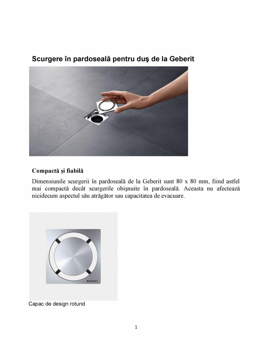 Pagina 1 - Scurgere in pardoseala pentru dus  GEBERIT Catalog, brosura Romana Scurgere în...