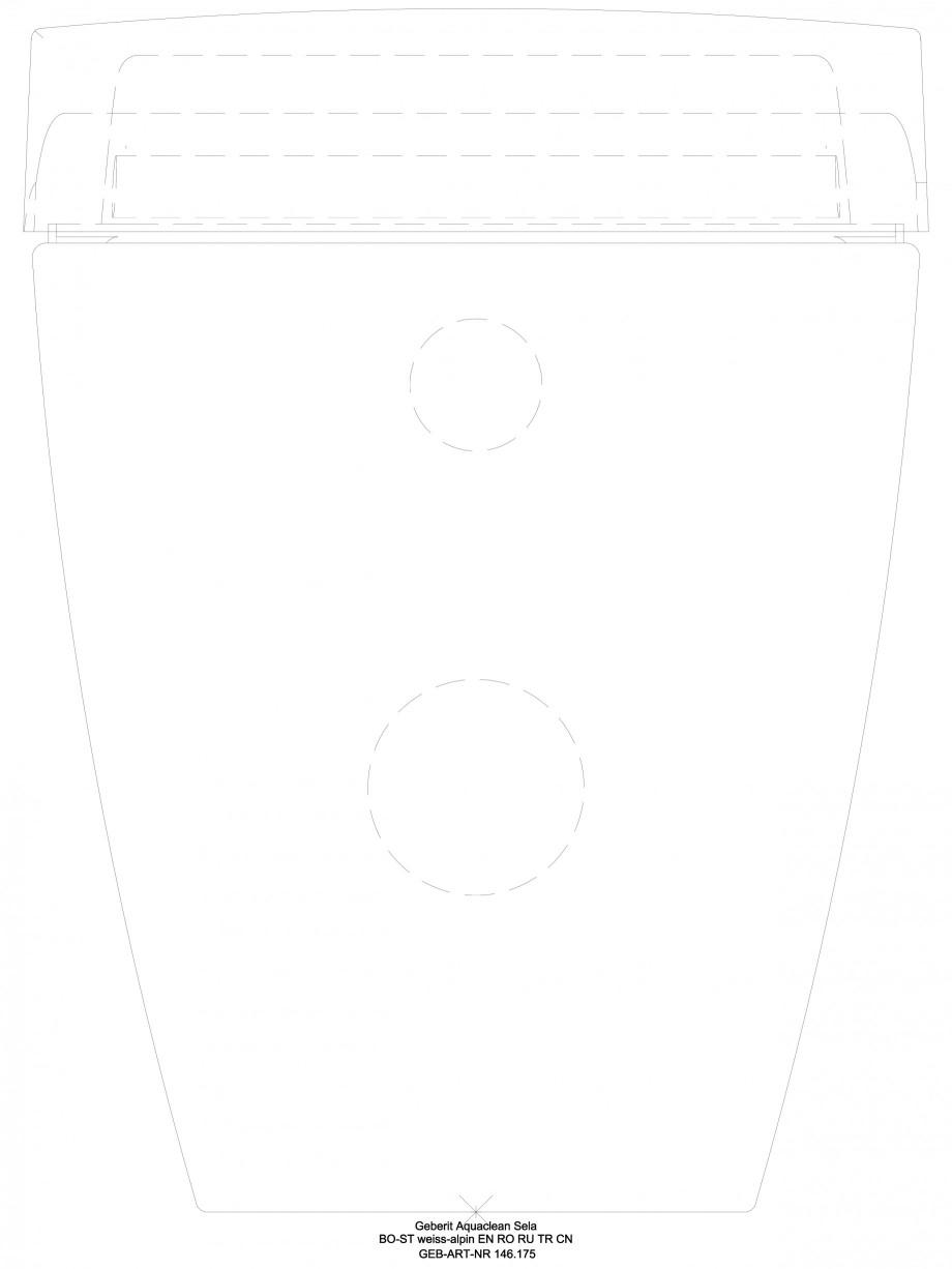 Pagina 1 - CAD-DWG Sistem WC Sela - vedere din spate GEBERIT Detaliu de produs AquaClean