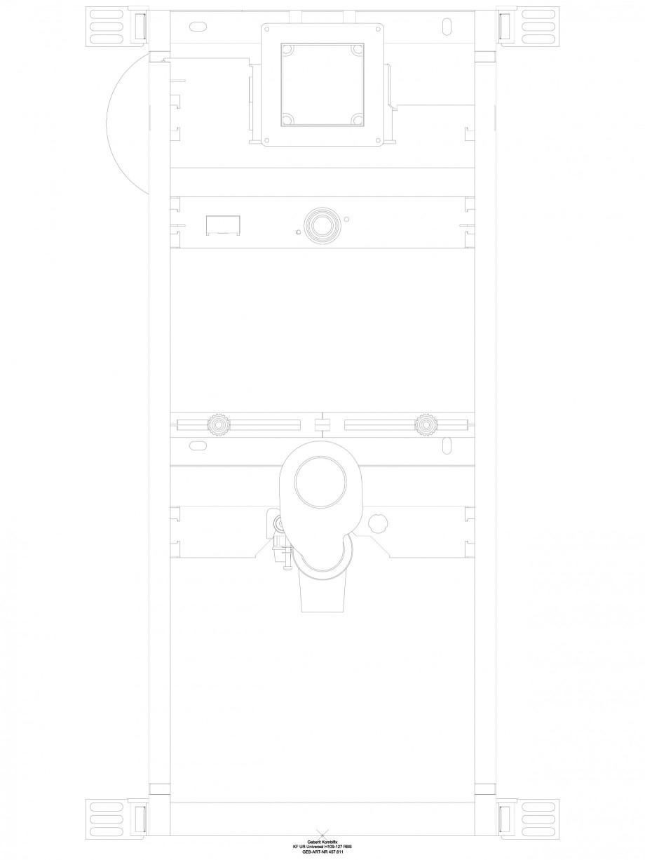 Pagina 1 - CAD-DWG Sistem de instalare pisoar Universal - vedere din fata GEBERIT Detaliu de produs ...