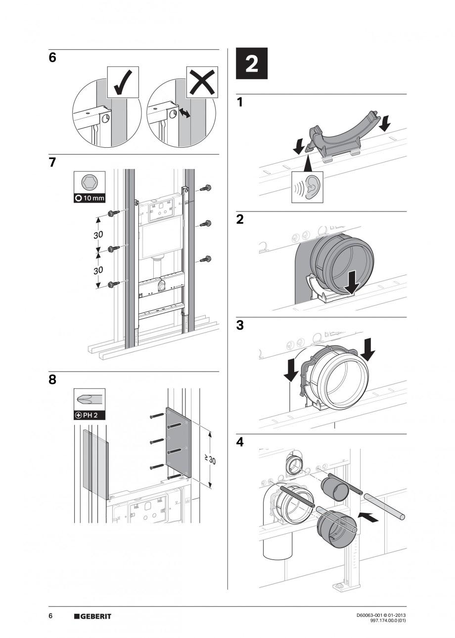Pagina 6 - Rezervor incastrat Duofix Delta - instructiuni de montaj GEBERIT Instructiuni montaj,...