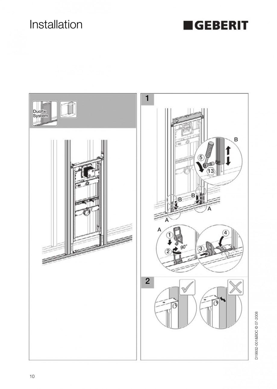Pagina 10 - Rezervor incastrat Duofix pentru pisoar  GEBERIT Instructiuni montaj, utilizare Engleza