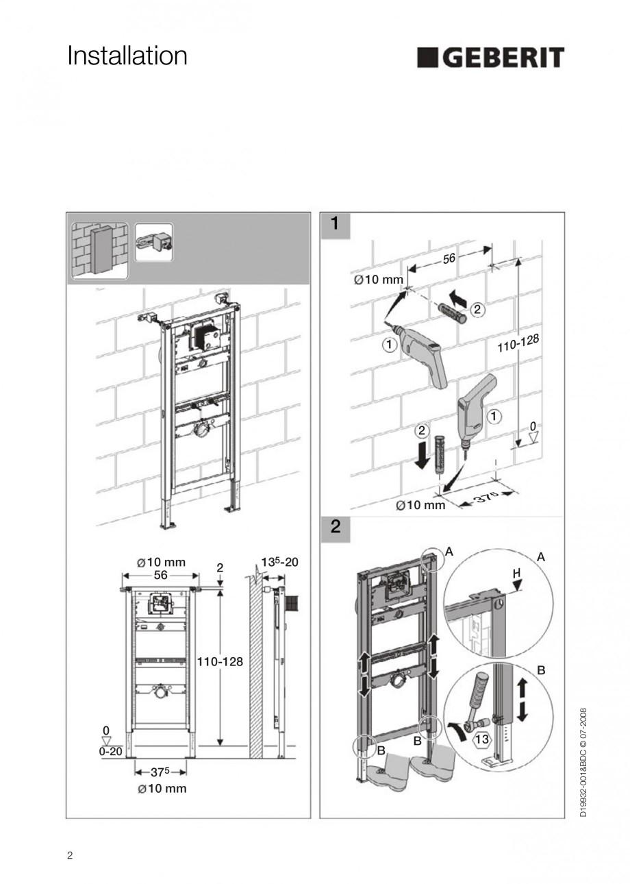 Pagina 2 - Rezervor incastrat Duofix pentru pisoar  GEBERIT Instructiuni montaj, utilizare Engleza  ...