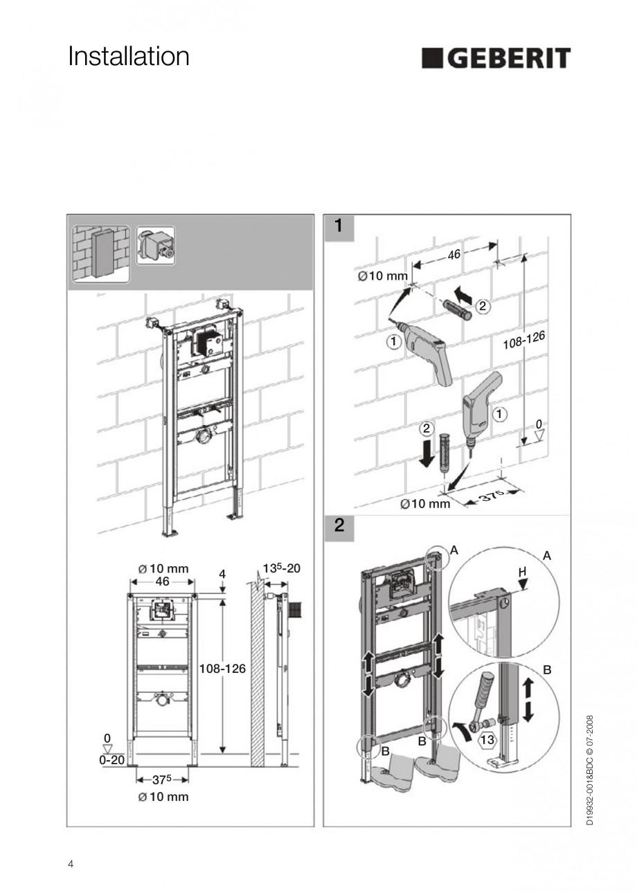 Pagina 4 - Rezervor incastrat Duofix pentru pisoar  GEBERIT Instructiuni montaj, utilizare Engleza