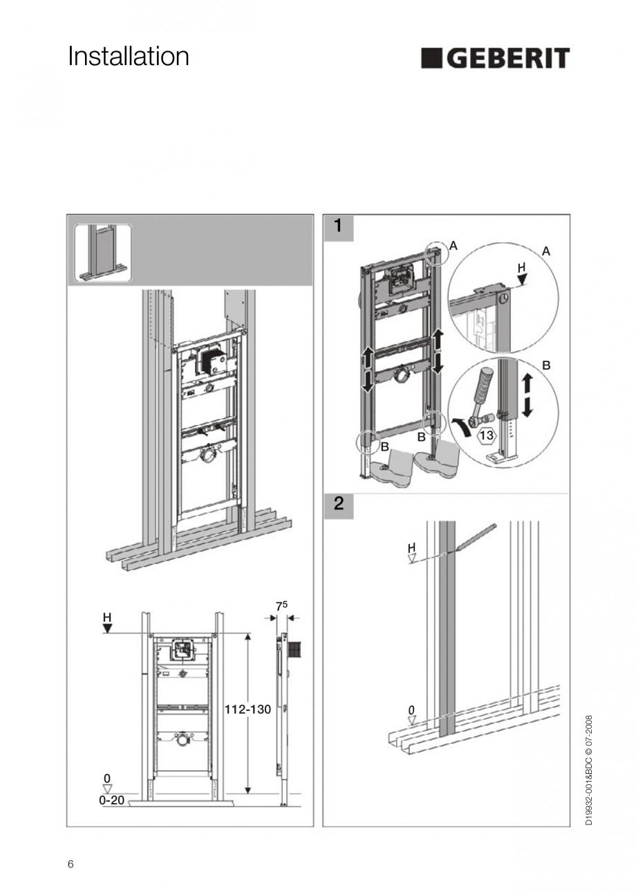 Pagina 6 - Rezervor incastrat Duofix pentru pisoar  GEBERIT Instructiuni montaj, utilizare Engleza
