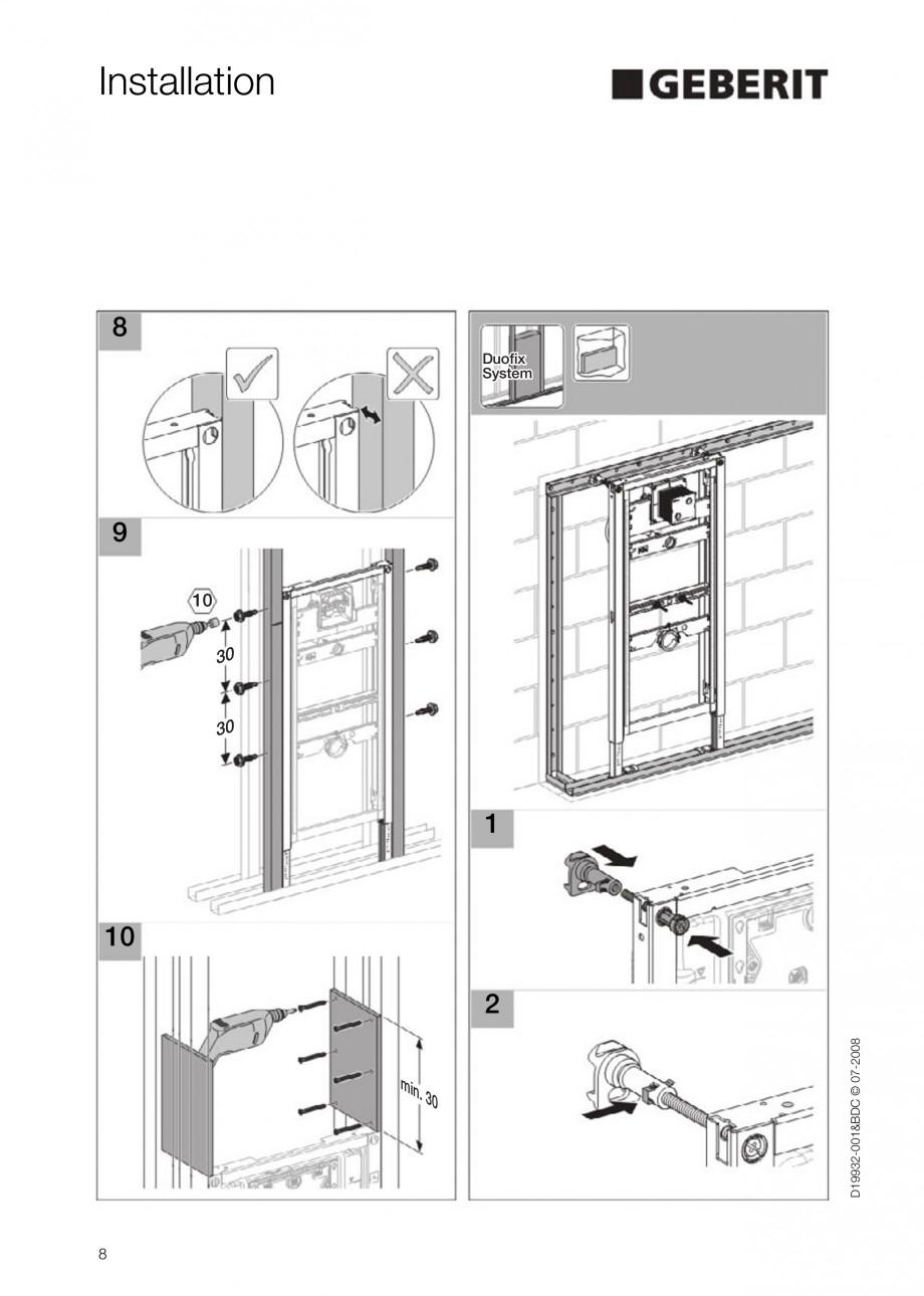 Pagina 8 - Rezervor incastrat Duofix pentru pisoar  GEBERIT Instructiuni montaj, utilizare Engleza