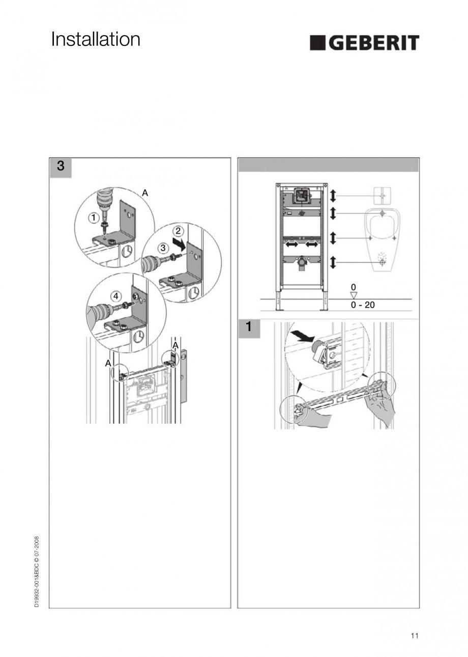 Pagina 11 - Rezervor incastrat Duofix pentru pisoar  GEBERIT Instructiuni montaj, utilizare Engleza
