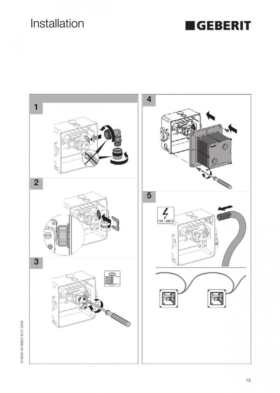 Pagina 13 - Rezervor incastrat Duofix pentru pisoar  GEBERIT Instructiuni montaj, utilizare Engleza