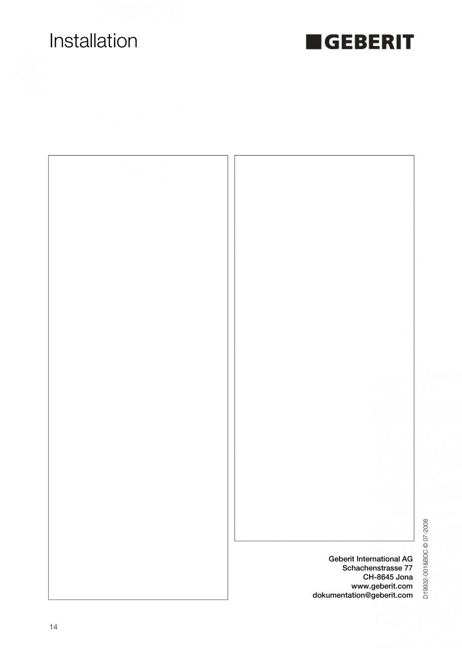 Pagina 14 - Rezervor incastrat Duofix pentru pisoar  GEBERIT Instructiuni montaj, utilizare Engleza
