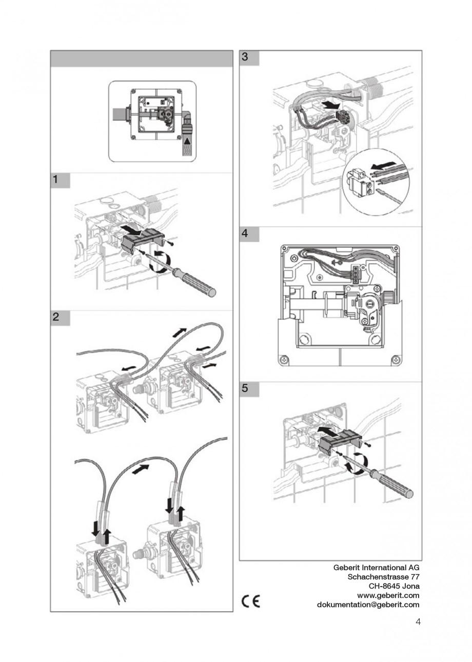 Pagina 4 - Rezervor incastrat Kombifix pentru pisoar GEBERIT Instructiuni montaj, utilizare Engleza,...