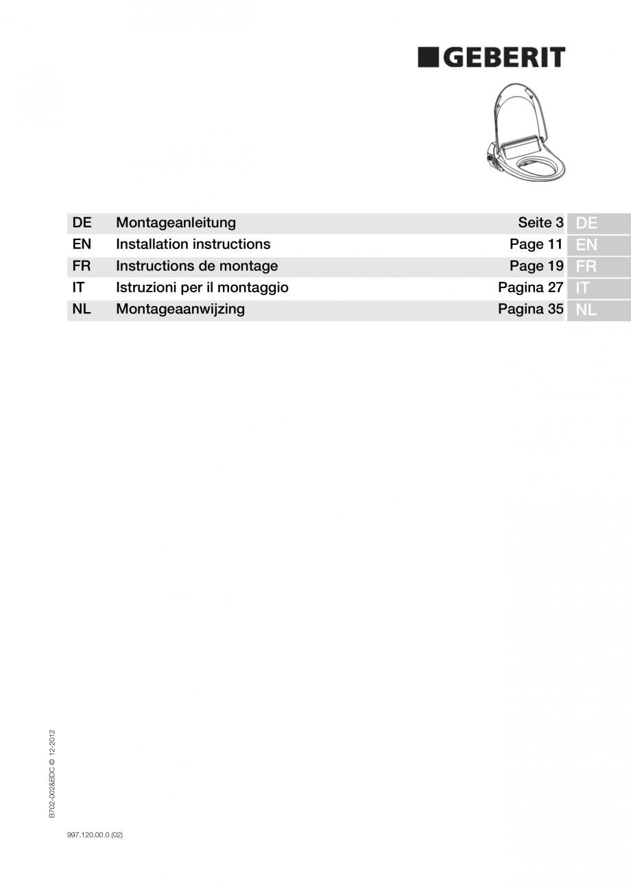 Pagina 1 - Vas WC cu functie de bideu 4000 GEBERIT AquaClean Instructiuni montaj, utilizare Germana,...