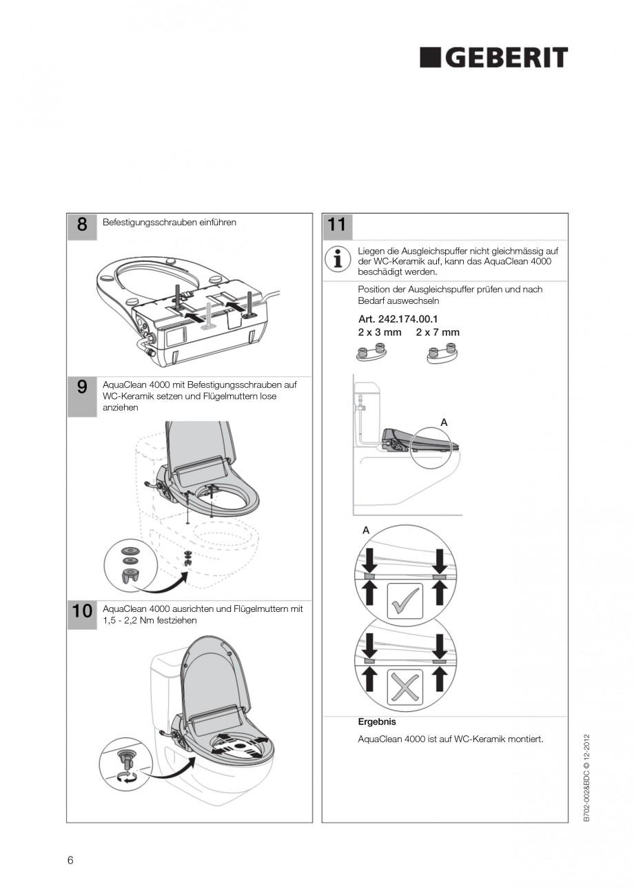 Pagina 6 - Vas WC cu functie de bideu 4000 GEBERIT AquaClean Instructiuni montaj, utilizare Germana,...