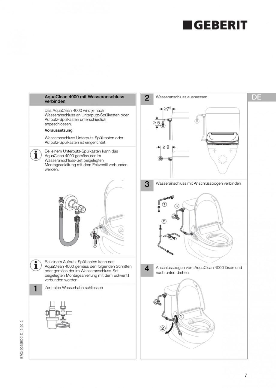 Pagina 7 - Vas WC cu functie de bideu 4000 GEBERIT AquaClean Instructiuni montaj, utilizare Germana,...