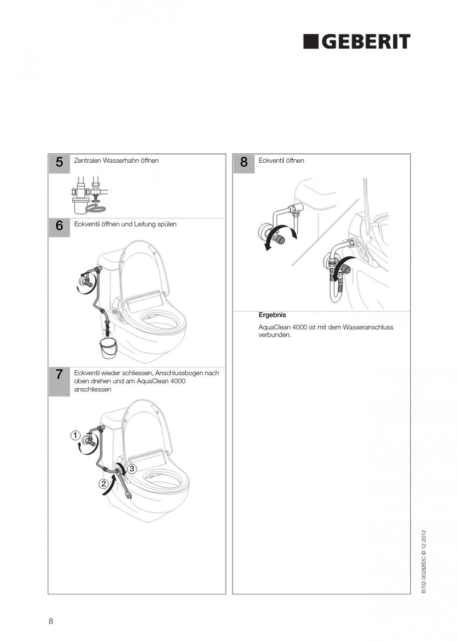 Pagina 8 - Vas WC cu functie de bideu 4000 GEBERIT AquaClean Instructiuni montaj, utilizare Germana,...