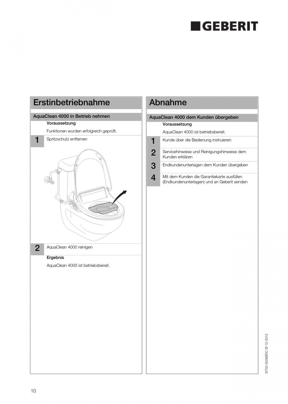 Pagina 10 - Vas WC cu functie de bideu 4000 GEBERIT AquaClean Instructiuni montaj, utilizare Germana...