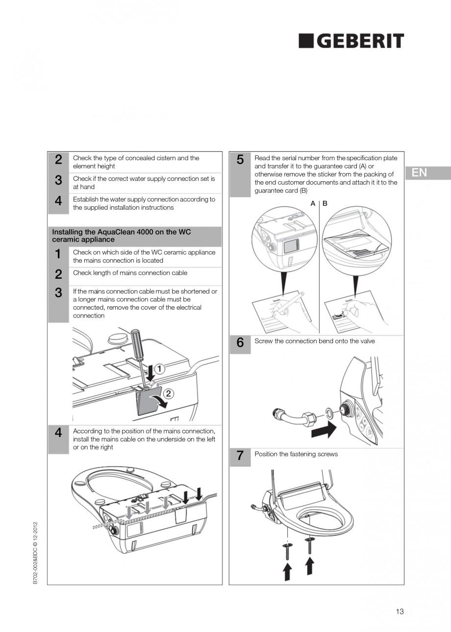 Pagina 13 - Vas WC cu functie de bideu 4000 GEBERIT AquaClean Instructiuni montaj, utilizare Germana...
