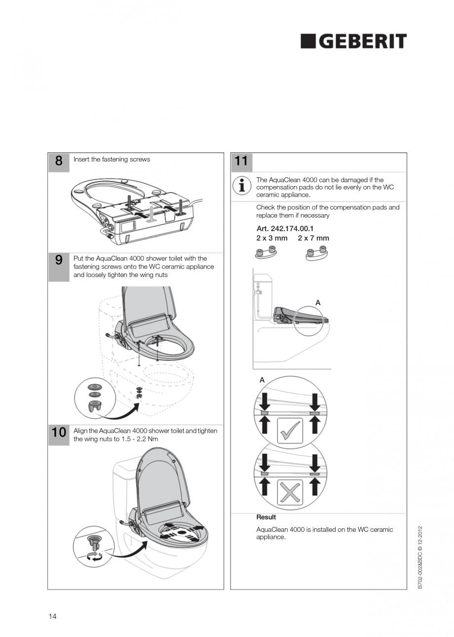 Pagina 14 - Vas WC cu functie de bideu 4000 GEBERIT AquaClean Instructiuni montaj, utilizare Germana...