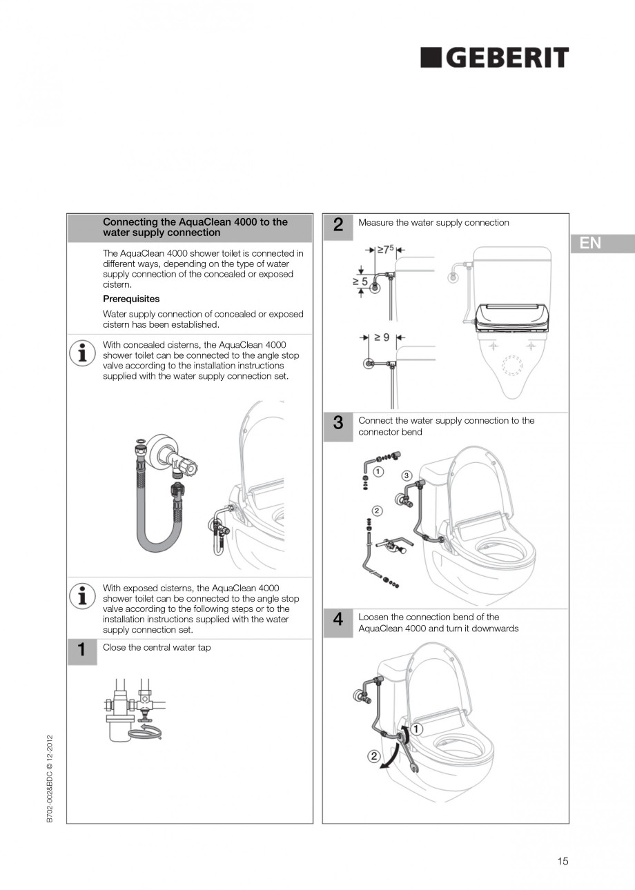 Pagina 15 - Vas WC cu functie de bideu 4000 GEBERIT AquaClean Instructiuni montaj, utilizare Germana...