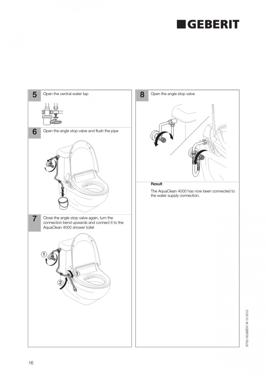 Pagina 16 - Vas WC cu functie de bideu 4000 GEBERIT AquaClean Instructiuni montaj, utilizare Germana...
