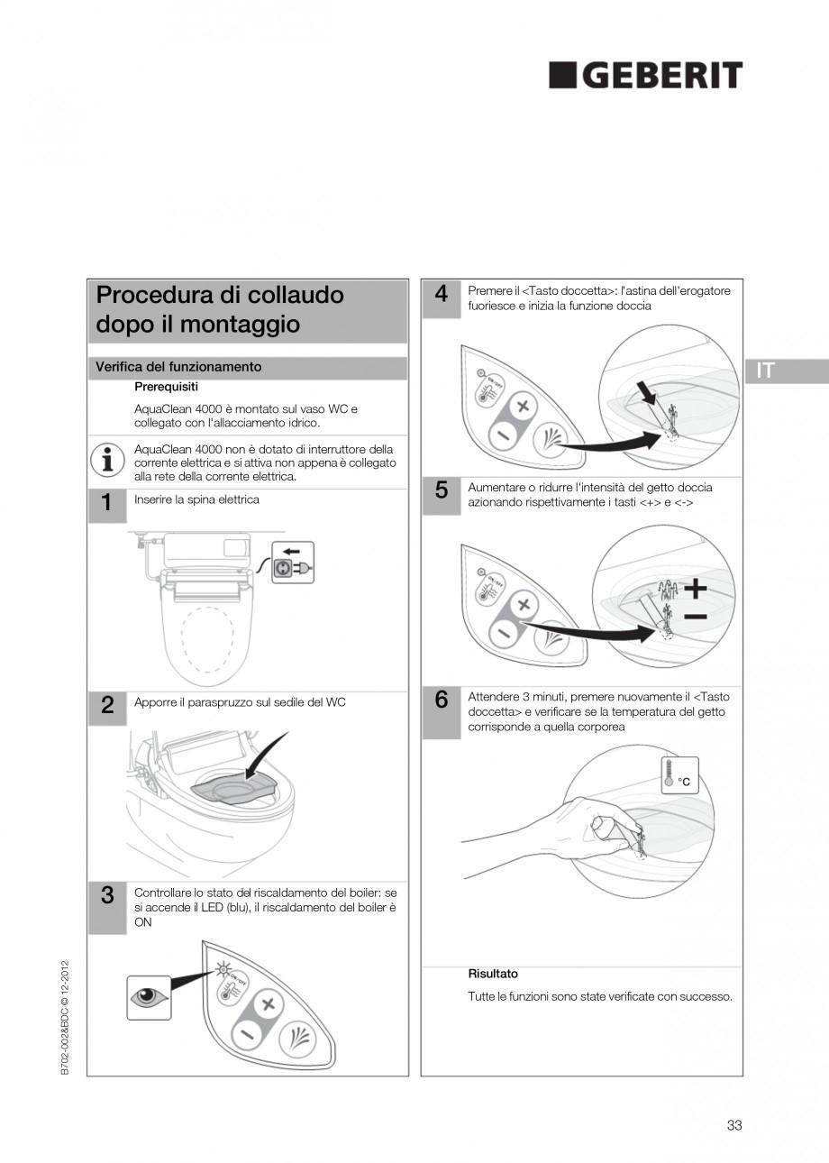 Pagina 33 - Vas WC cu functie de bideu 4000 GEBERIT AquaClean Instructiuni montaj, utilizare Germana...
