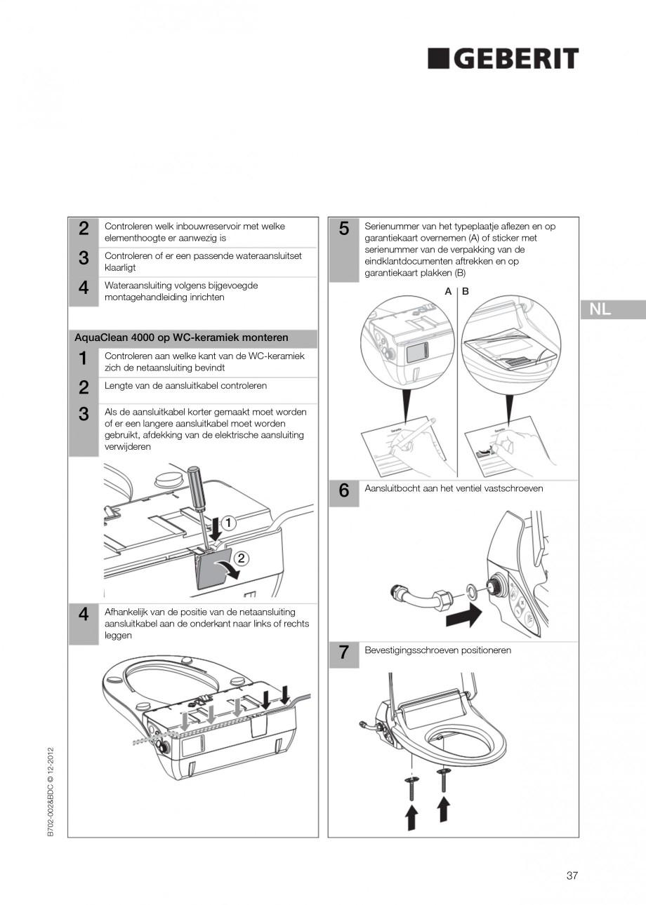 Pagina 37 - Vas WC cu functie de bideu 4000 GEBERIT AquaClean Instructiuni montaj, utilizare Germana...