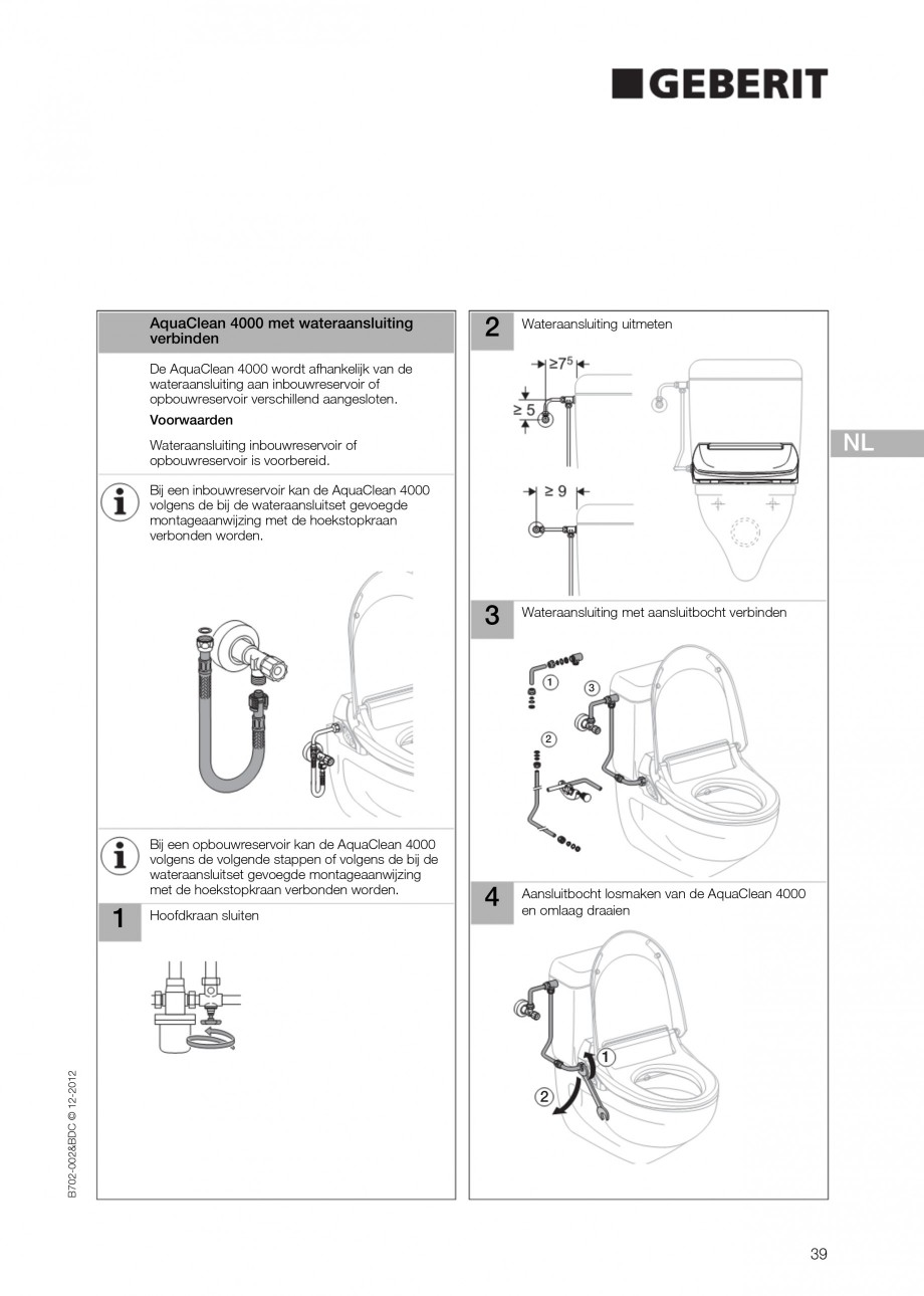 Pagina 39 - Vas WC cu functie de bideu 4000 GEBERIT AquaClean Instructiuni montaj, utilizare Germana...