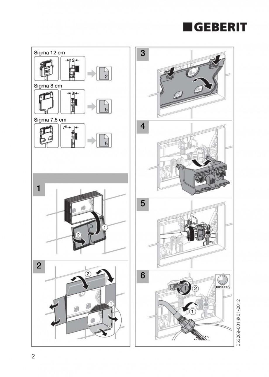 Pagina 2 - Clapete de actionare Geberit Sigma GEBERIT Instructiuni montaj, utilizare Germana,...