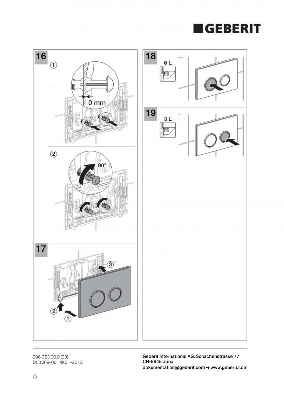 Pagina 8 - Clapete de actionare Geberit Sigma GEBERIT Instructiuni montaj, utilizare Germana,...