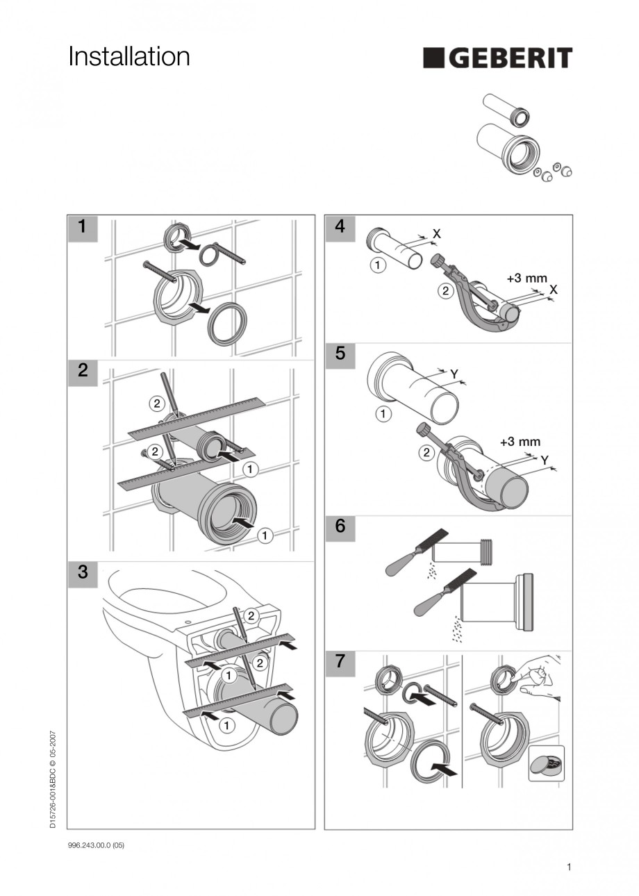 Pagina 1 - Sistem WC - schema de instalare GEBERIT DuoFresh Instructiuni montaj, utilizare Engleza...