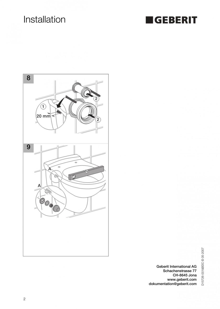 Pagina 2 - Sistem WC - schema de instalare GEBERIT DuoFresh Instructiuni montaj, utilizare Engleza