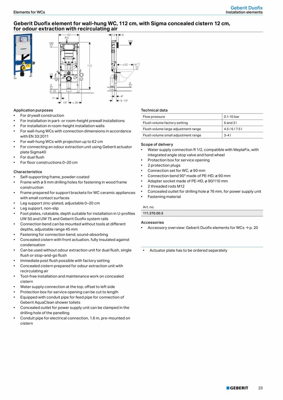 Pagina 23 - Sisteme sanitare Geberit 2015-2016 GEBERIT Kombifix, Duofix, DuoFresh, Monolith,...