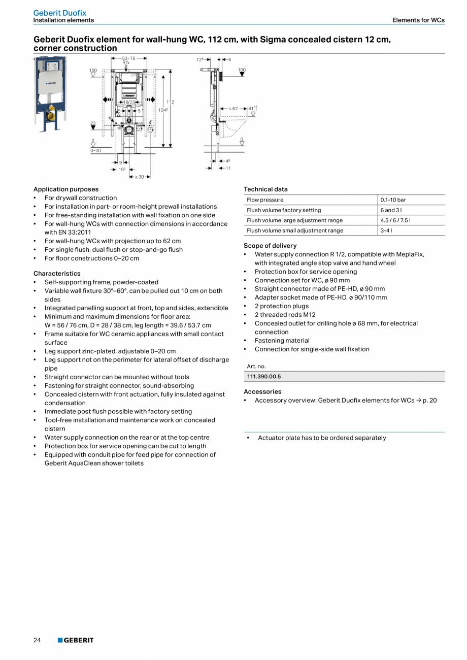 Pagina 24 - Sisteme sanitare Geberit 2015-2016 GEBERIT Kombifix, Duofix, DuoFresh, Monolith,...