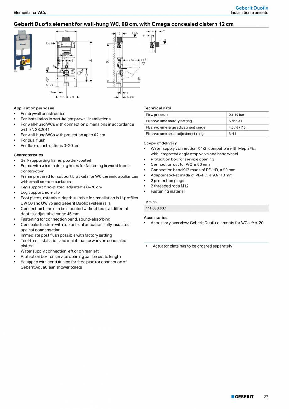 Pagina 27 - Sisteme sanitare Geberit 2015-2016 GEBERIT Kombifix, Duofix, DuoFresh, Monolith,...