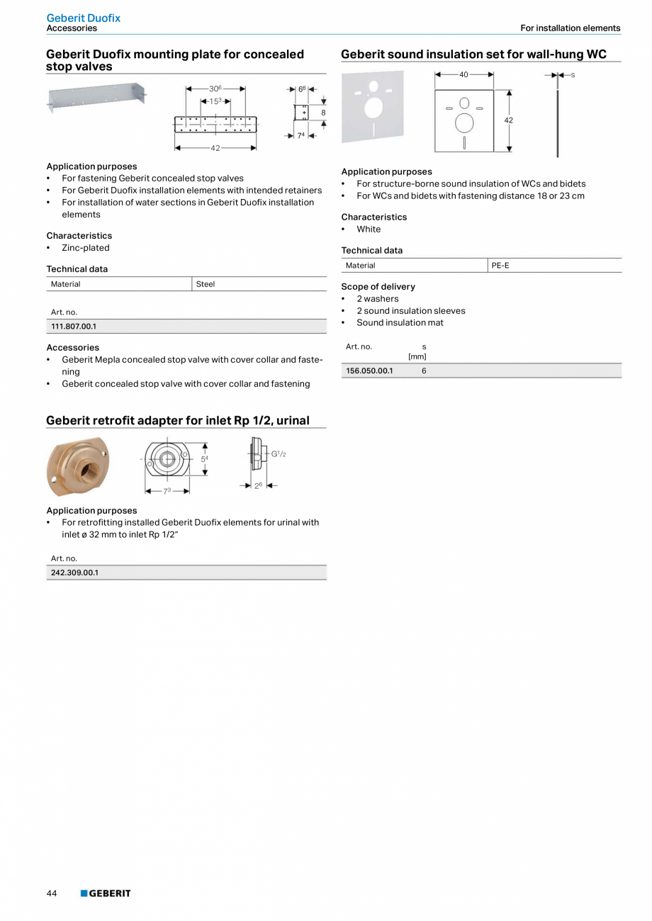 Pagina 44 - Sisteme sanitare Geberit 2015-2016 GEBERIT Kombifix, Duofix, DuoFresh, Monolith,...